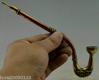 Collectible Decorated Old Handwork Copper Carved Bat Smoking Pipe