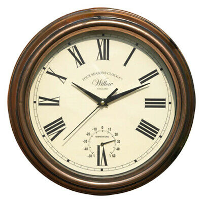 "Vintage Copper Effect 12"" Willow Wall Clock Cream Dial Black Hands Thermometer"