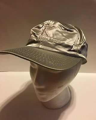 530b1c812bdc0 Vintage Calvin Klein Hat Snapback Silver 90s Name Spell out Large Logo  Retro Dad