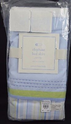"Pottery Barn Baby Elephant Bed Skirt Light Blue Green Crib 11"" Drop #90"