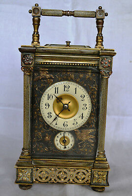 19th century French gilt metal Alarm and Repeater Carriage Clock