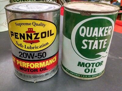 Vintage QUAKER STATE metal &  PENNZOIL card b QT. MOTOR OIL CAN  advertising Lot