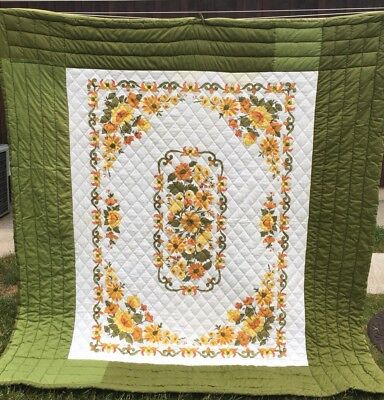 Vintage One Of A Kind Quilt, Avocado Green, Hand Quilted, Queen Size, 76 X 82""