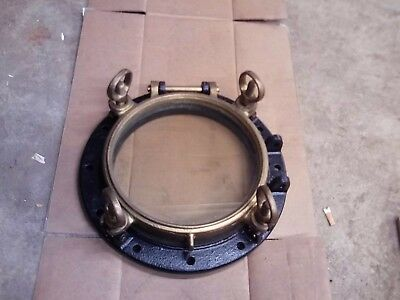 Vintage Ship Porthole Brass Window Frame And Cast Iron Mount