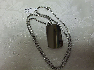 Brand New Chisel Stainless Steel Thick Polished / Brushed Dog Tag Necklace