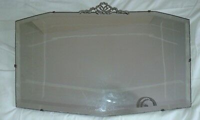 pewter bow topped bevel edged mirror