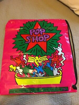 Keith Haring Pop Shop NYC Plastic Tote Shopping Bag 1980's