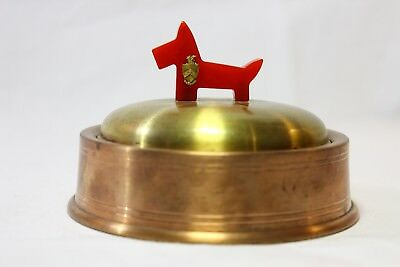Vintage bakelite and copper brass scottie dog sorority trinket box RARE FIND