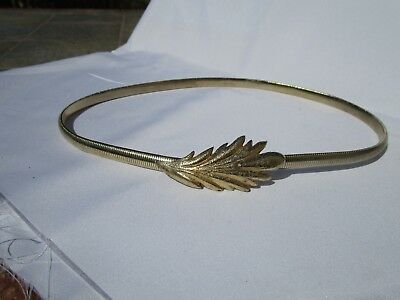 "Vintage 80s belt narrow stretch gold-tone size S/M (28-32"") metal"