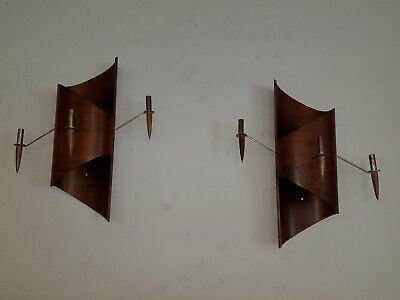 Vintage Bentwood Danish Mid Century Modern Pair of Wall Sconces