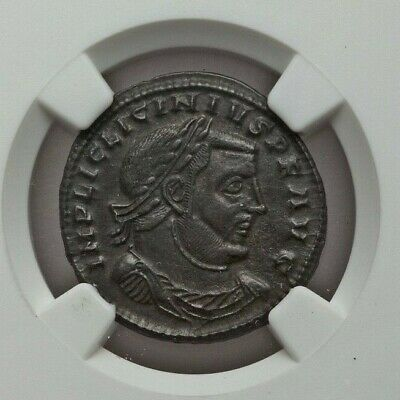ROMAN IMPERIAL: Licinius I (3.53g). BI follis or reduced nummus, NGC AU 4/5, 5/5