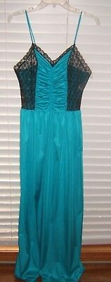 Vtg Aqua Black Ruched Bodice Lace Panels Long Nightgown Sz M