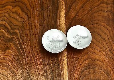 - Japanese Two Pure Silver (1000) Soy Dishes: Bird And Tree Designs No Monograms