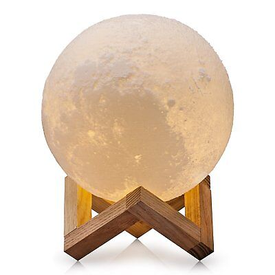 Lighting Night Light LED 3D Printing Moon Lamp, White Dimmable usb charging CUTE