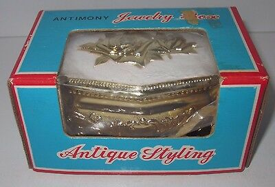Vintage Antimony Jewelry Box - Trinket - Antique Styling - With Original Box