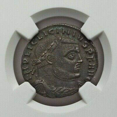 ROMAN IMPERIAL: Licinius I (2.62 g) BI follis-reduced nummus, NGC CH XF 4/5, 4/5