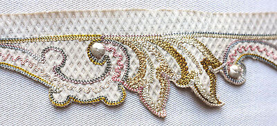 113 cms.antique embroidered silk border from France