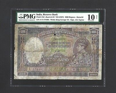 1937 India 1000 Rupees P-21d KARACHI ISSUE VERY RARE, PMG 10 VG, Scarce KGVI