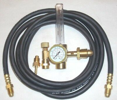 Argon or Argon/CO2 Mix Flowmeter Mig Tig Welding Regulator w 10' Inert Gas Hose
