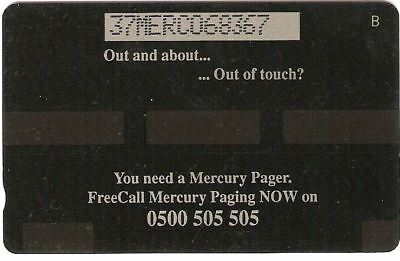 Mer434C Butterfly Pager Mint £2 Mercury Phonecard
