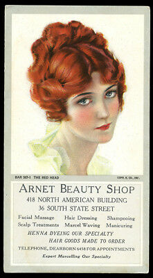 Rare Rolf Armstrong Beauty Advertising Ink Blotter Pin-up The Red Head C 1920 NR
