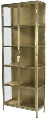 "84"" Melania Cabinet Iron In Antique Brass Finish Glass Doors Four Shelves; Shelf"