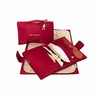 MELOBABY All-In-One Nappy Wallet and Change Mat (Red and Caramel)