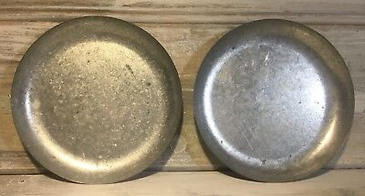 "C. 1900 Primitive 5⅝"" Tin-Plated Galvanized Steel Roberval Scale Trays Set 2"