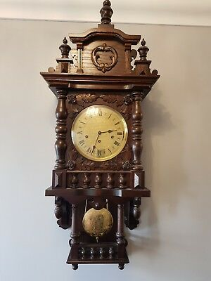 Vintage  Franz Hermle special triple chimes solid oak wall clock