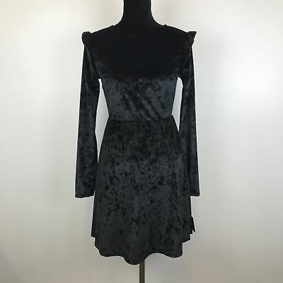 New Mossimo Black Long Sleeve Womens Crushed Velvet A-Line Dress Size M - 70A