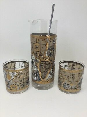 Mid-Century CERA Old World Nautical Map Globe Cocktail Set 4 pc.