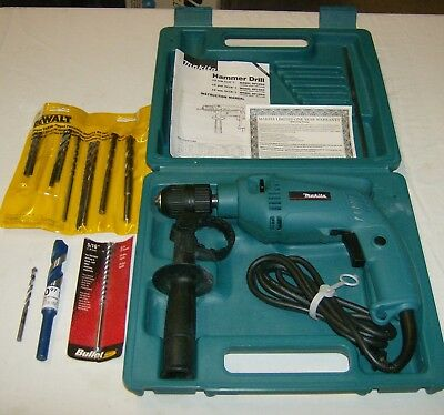 "Makita Hp 1501 Hammer Drill Electric 9/16"" Case, Handle, Drills, Used Once"