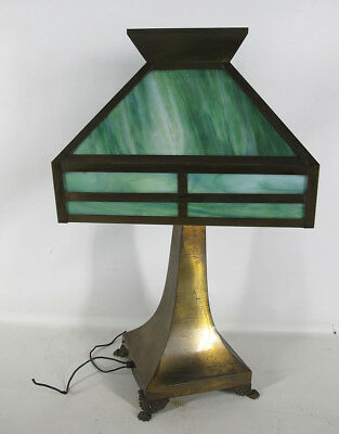 Antique Arts & Crafts Emerald Green Stained Glass Shade Footed Table Lamp NR yqz