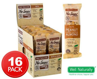 16 x Well Naturally No Sugar Added Cereal Bar Nuts 35g