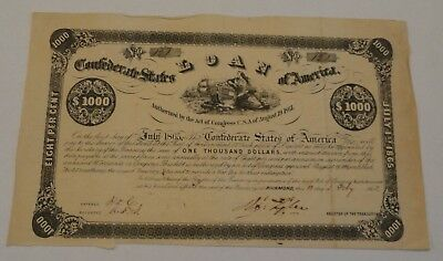 Confederate States of America $1000 Bond 1862 - Act of August 19, 1861