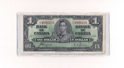 1937 Canada $1 One Dollar Bank Note Bill XF/AU Coyne Towers C19