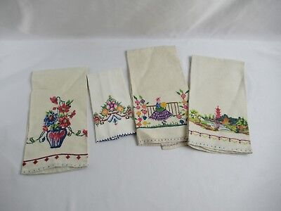 Antique Whimsy Embroidered Linen Napkins Woman in Dress, Pagoda, Folk Art Floral