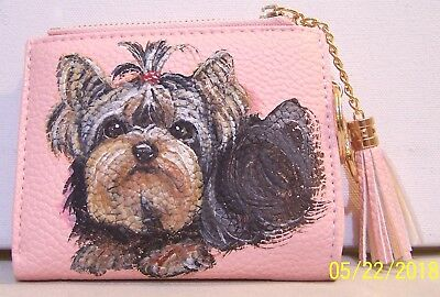 Yorkie hand painted leather wallet coin purse card and ID holder keyring charm