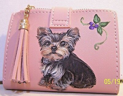 Yorkie hand painted leather wallet coin purse and ID holder with tassel