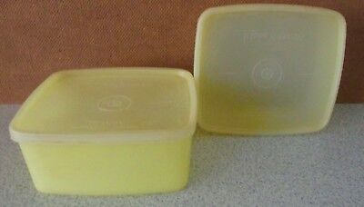 Vintage Tupperware ~ Square Yellow Containers X 2