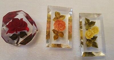 Vintage Lot of 3 Lucite Reverse Carved Flower Brooches - Beautiful