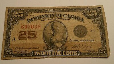 Dominion of Canada 1923 25 Cents Banknote circulated