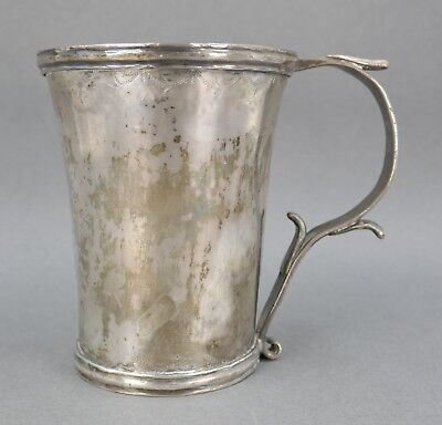 Fine Antique 18th Century Early American Colonial Silver Handled Beaker Mug Cup