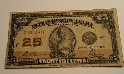 Dominion of Canada 1923 25 Cents Banknote Cavour