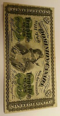 1870 DOMINION OF CANADA 25 CENTS BANK NOTE . Excellent condition