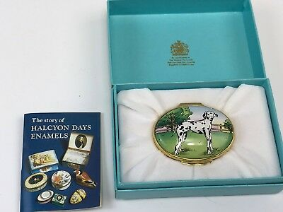 Boxed Tiffany Design Halcyon Days Enamel Box, Firehouse, Dalmation Dog