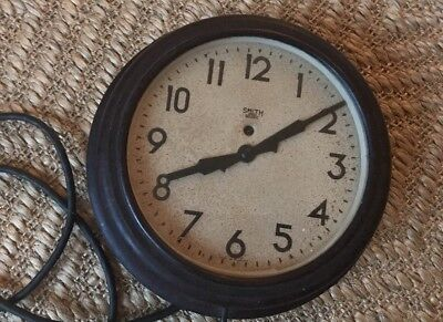 Early 20th Century Wartime Bakelite Smith Electric Wall Clock