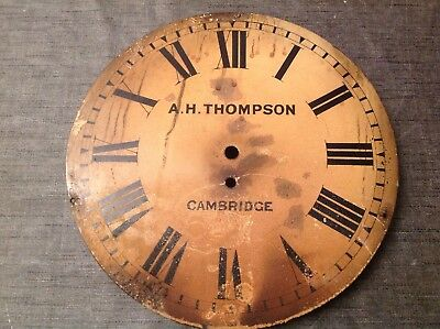 """Antique Wall Clock Dial 12""""  With Makers Mark A H Thompson Cambridge"""
