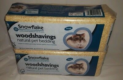 2 x Snowflake Natural Pet Bedding Wood Shavings Rabbit Guinea Pig  £2.99 EACH!