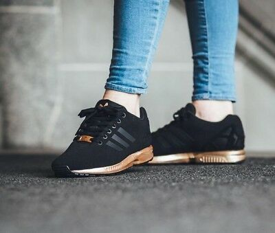 huge discount 314ae 61123 WOMENS ADIDAS ZX Flux Core Black Copper Rose Gold Bronze S78977 Limited  Edition